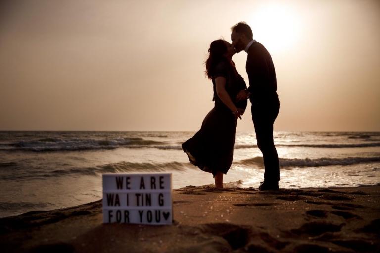 Servizio fotografico di gravidanza al mare
